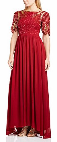 Virgos Lounge Womens Lena Maxi Cocktail Short Sleeve Dress, Red (Wine/Red), Size 12 product image