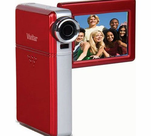 Vivitar Ultra Silm Compact HD Video Camcorder Vivitar DVR975HD 12.1 Megapixel Digital Camera 2.7`` Screen, Li-Ion Battery with Charger (Red)