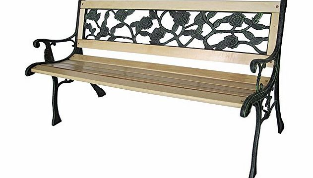 Vivo 3 Seater Rose Outdoor Wooden Garden Park Bench Chair Seat with Cast Iron Legs