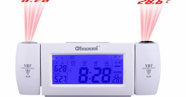Novelty Digital LCD Snooze Dual Projection Alarm Clock Clapping Voice Controlled Calendar