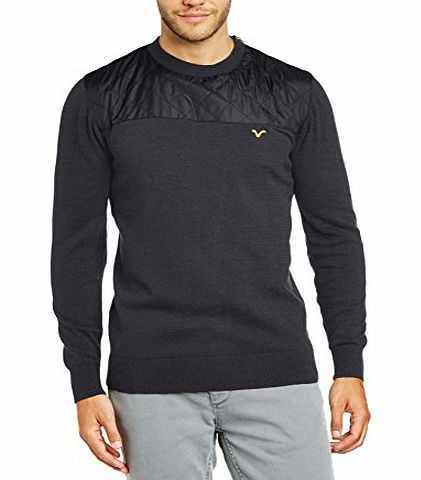 VOI  Jeans Mens Dusk Crew Neck Long Sleeve Jumper, Grey (Charcoal Marl), Medium