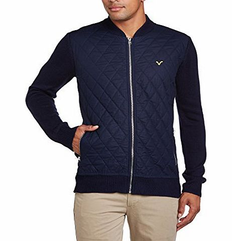 VOI  Jeans Mens Taylor Checkered Button Front Long Sleeve Jumper, Blue (Dark Navy), Medium