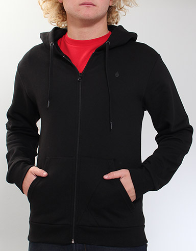 Icon Slim Zip hoody - Black