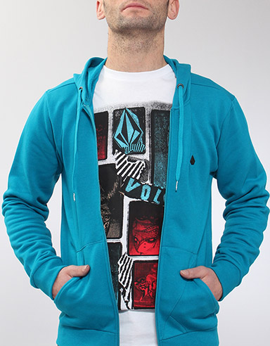 Icon Slim Zip hoody - Bright Turquoise