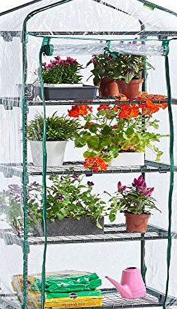 VonHaus 4 Tier Mini Plastic PVC Greenhouse - FREE 2 Year Warranty