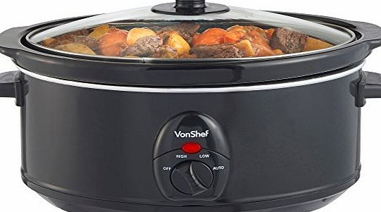 VonShef Automatic Black Electric 3.5 Litre Oval Slow Cooker - Removable Oval Oven to Table Dish with Toughened Glass Lid product image