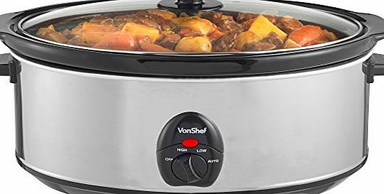 VonShef Automatic Electric Slow Cooker 6.5L Litres Stainless Steel - Removable Oval Oven to Table Dish with Toughened Glass Lid product image