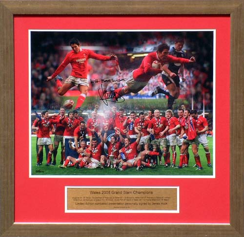 "This superb item of Wales Rugby memorabilia celebrates the teams stunning 2008 Grand Slam success.A limited edition of just 100  it displays a large 20"" by 16"" photo montage of the team celebrating after clinching the Grand Slam against F - CLICK FOR MORE INFORMATION"