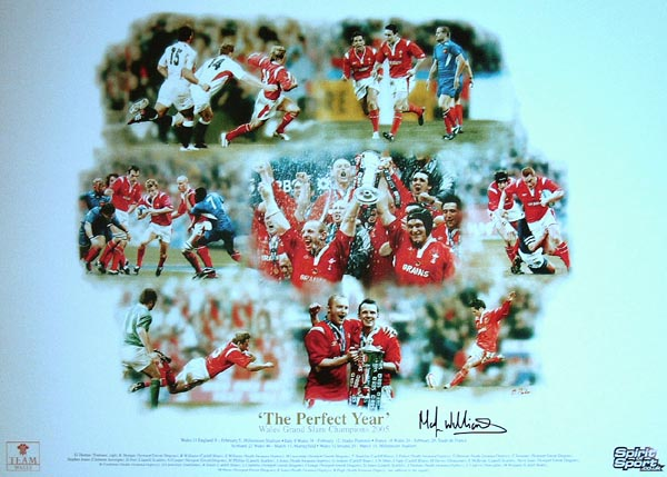 The Perfect Year - Limited edition print celebrating the 2005 Wales Grand Slam – Each personally signed by Martyn Williams.This limited edition of 895 prints has been taken from an original painted by Darren Baker to celebrate Wales victorious  - CLICK FOR MORE INFORMATION