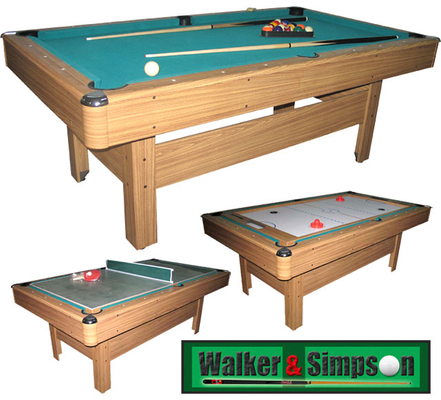 Walker And Simpson 7ft Pool Table Multi Game Games Master 3 In 1