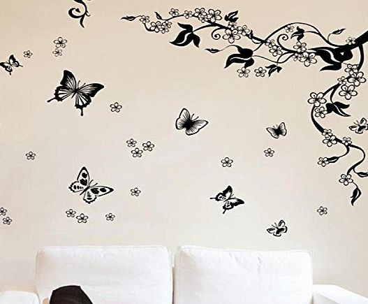 Walplus Butt Vine Walplus Removable Vinyl Wall Art Sticker, Dancing Butterflies and Tree Branch product image