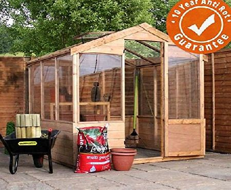 Waltons 4x6 Evesham Wooden Greenhouse - Shiplap Tamp;G, Shatterproof Glazing - By Waltons