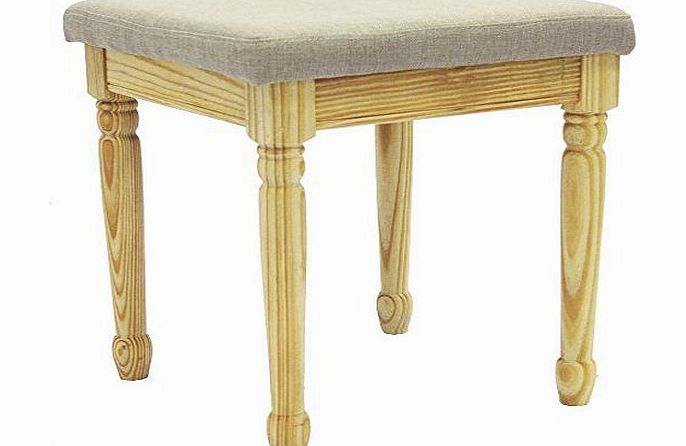 STRAND - Solid Wood Dressing Table Stool - Pine / Grey