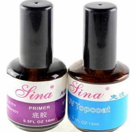 2pcs UV Top Coat Primer Base Gel Nail Art Tips Builder Acrylic Polish Set 14ml