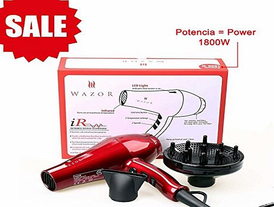 Wazor Infrared Negative Ions Hair Dryer 1800W DC Motor Lightweight Blow Dry with Safe Standard UK Plug