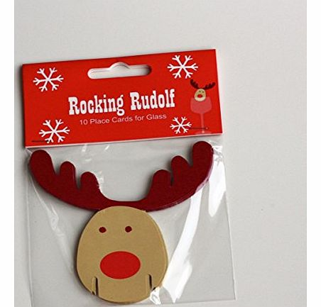 Wdl Rocking Rudolf Rudolph - Christmas Xmas Party Reindeer Glass Decoration - 10 Pack