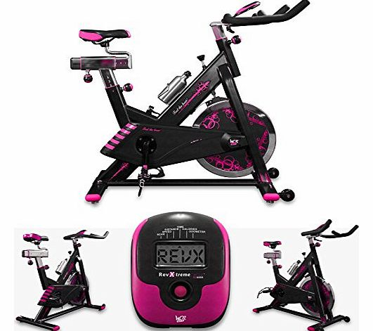 RevXtreme Indoor Aerobic Exercise Bike / Cycle Fitness Cardio Workout Machine - 22KG Flywheel (Pink)