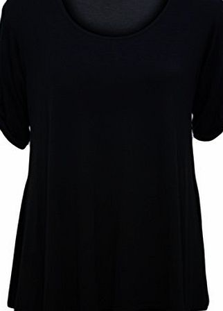 WearAll Womens Plus Size Scoop Neck Short Sleeve Flared Ladies Long Plain Top - Black - 18