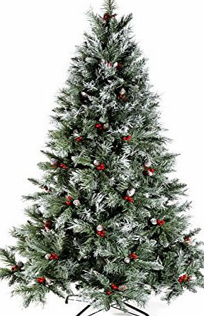WeRChristmas 5 ft Scandinavian Blue Spruce Christmas Tree includes Pine Cones and Berries with Easy Build Hinged Branches