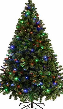 WeRChristmas Pre-Lit Spruce Multi-Function Christmas Tree with 200-LED Lights, 6 ft/1.8 m - Multi-Colour