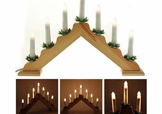 Werchristmas pre lit wooden triangle candle bridge window for 7 candle christmas decoration