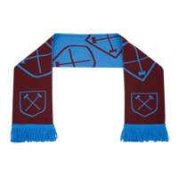 Ham United Hammers Scarf - Claret/Blue. - CLICK FOR MORE INFORMATION