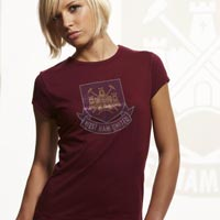 Ham United Rhinestone T-Shirt - Claret - - CLICK FOR MORE INFORMATION