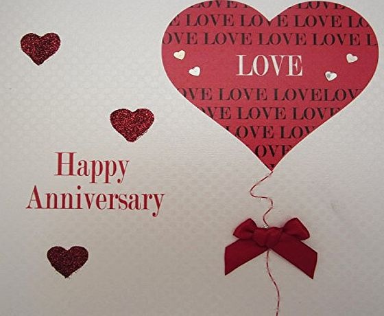 WHITE COTTON CARDS  Happy Anniversary Handmade Card with Heart/ Love and Balloon, White