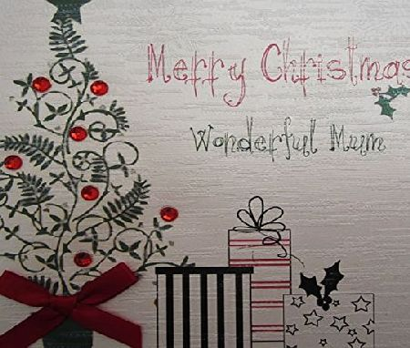WHITE COTTON CARDS  Merry Christmas Wonderful Mum Handmade Card in Tree and Presents Design