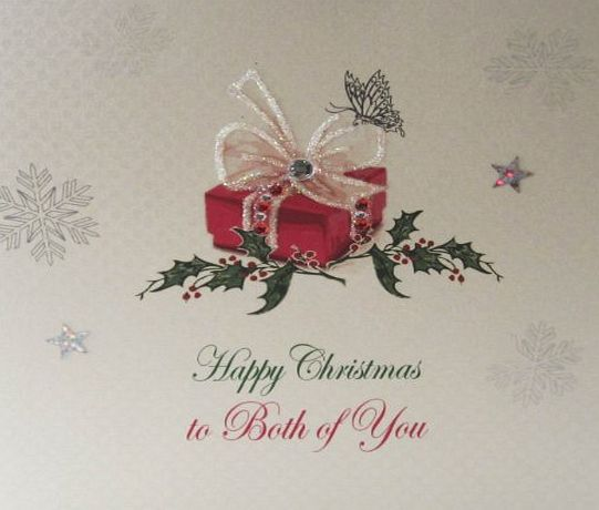 WHITE COTTON CARDS  X127 To Both of You Handmade Christmas Card with Present Design, White