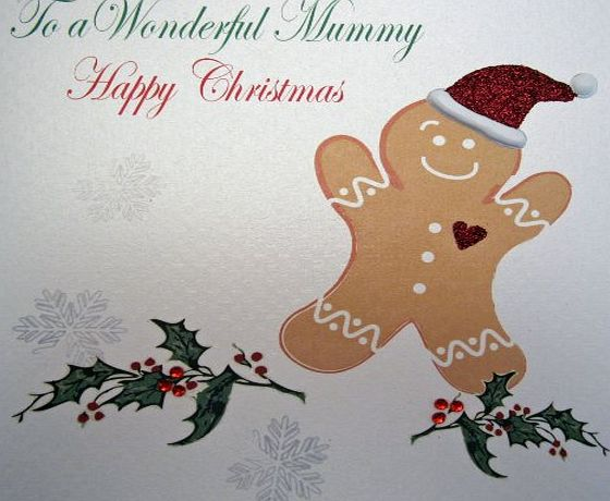 WHITE COTTON CARDS  X48 To a Wonderful Mummy Happy Christmas Handmade Christmas Card, White