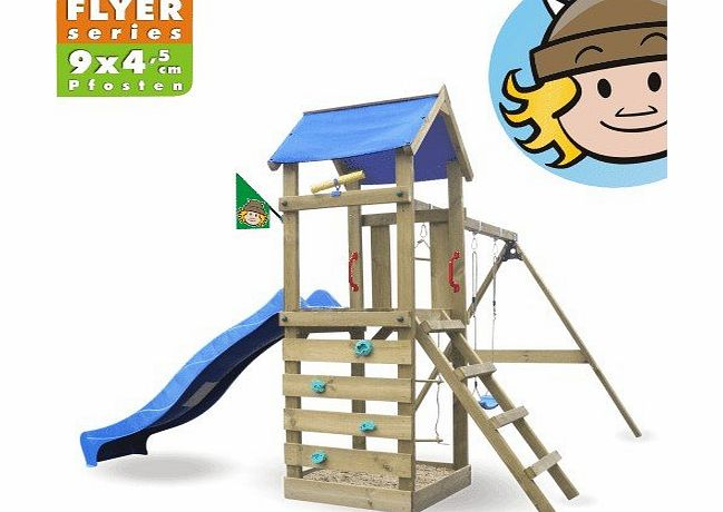 Wickey  FreeFlyer Climbing frame, climbing tower with slide, swing, sandpit + complete accessory set product image