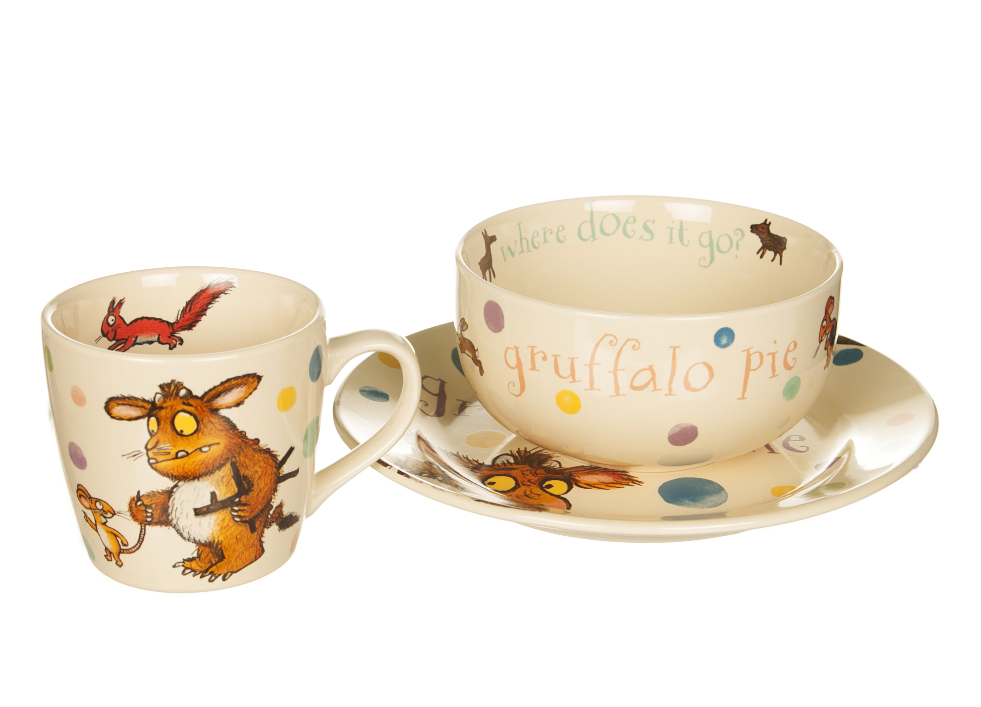 Gruffalo Child 3-Piece Spotty Ceramic Set With