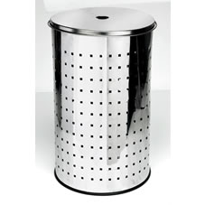 Wilko Laundry Hamper Round Stainless Steel Large