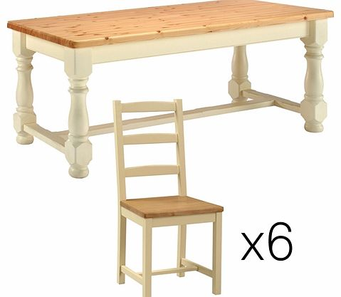 painted 185cm dining table with 6 review compare prices buy online