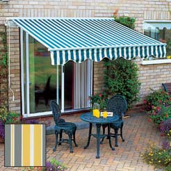 Windsor Awn 3.5/Bistro - The canopy measures from 2.5m wide and extends outwards 2.5m. It is made - CLICK FOR MORE INFORMATION