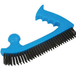 Moulded plastic handled wire brush with five rows of strong abrasive wire and two handed positioning - CLICK FOR MORE INFORMATION
