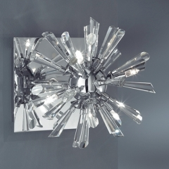 Alaska chrome wall light with decorative glass pieces that catch the light. A matching ceiling pendant is also available.There is no fitted switch or dimmer within this light fitting.This light fitting is suitable for installation onto a dimmer contr - CLICK FOR MORE INFORMATION