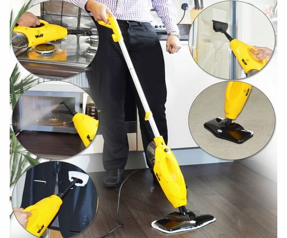 WOLF  5 in 1 1200w Super Heated Floor and Hand Held Steam Cleaner - Complete with 2 x Floor Cloths, 2 x Upholstery Cloths product image
