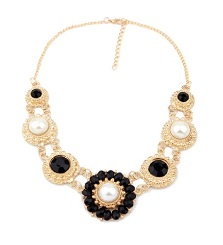 WOW Bohemian Style Vintage Inlaid Pearl Crystal Diamonds Statement Chunky Chain Collar Choker Necklace Pendant Jewellery (Black) product image