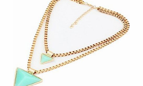 WOW Fluorescent Color Geometric Double Triangle Pendants Chuncky Chain Collar Statement Clavicle Necklace Party Jewelry (Light Blue) product image