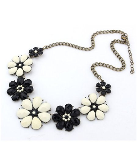 WOW Vintage Flower Crystal Bib Statement Chunky Chain Collar Choker Necklace Pendant Jewellery (Black & White) product image