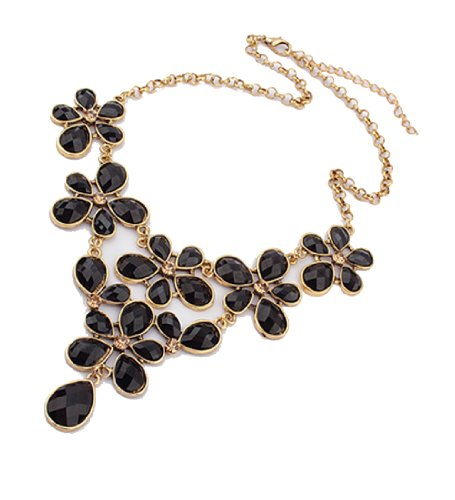 WOW Women Girls Vintage Bejeweled Flower Pendants Bib Statement Chunky Chain Collar Costume Party Necklace (Black) product image