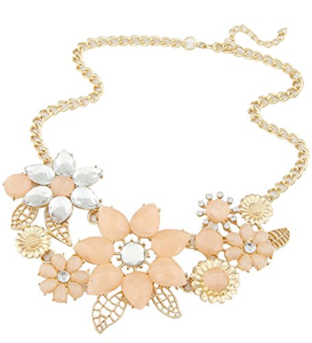 WOW Womens Fashion Flower Diamond Pendant Statement Chunky Chain Collar Choker Necklace (Pink) product image