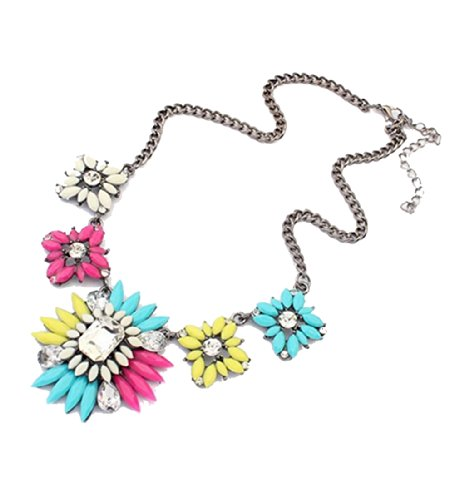 WOW Womens Vintage Fashion Bohemian Flower Crystal Pendnats Chunky Chain Collar Choker Statement Necklace (Multiple Color) product image