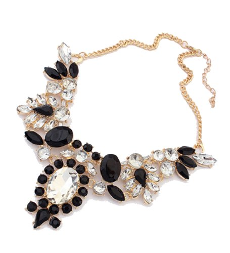 WOW Womens Vintage Fashion Candy Color Alloy Cystal Flower Pendant Golden Chunky Chain Choker Statement Necklace (Black) product image