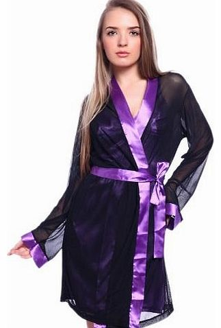 Wunderbarwahl Sexy Satin Boudoir Sleepwear Chemise Slip and Robe Peignoir Set Negligee Nightie Lounge wear product image