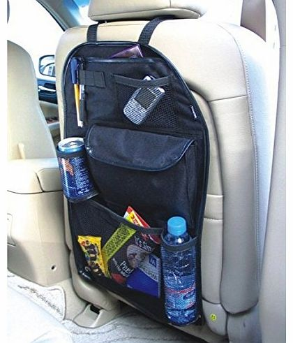 Xett Universal Back Seat Car Organiser with Drinks / Umbrella Holder and 7 separate velcro sealed storage compartments. Height 55cm x Width 36cm