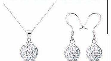 Beautiful 925 Womens Crystal solid Silver Disco Ball Friendship NECKLACE AND STUD EARRING SET 10mm