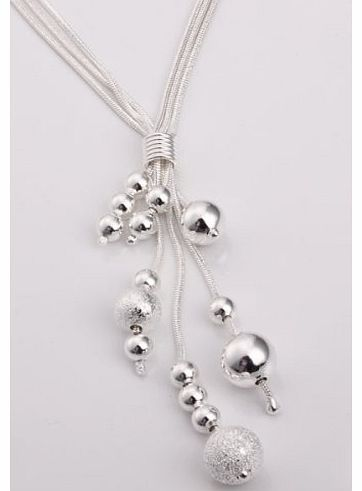 New Fashion Jewelry Classic Drop Ball 925 Pendant Women Jewelry Solid Silver Necklace + velvet pouch